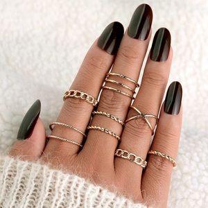 NEW!! 💛 Gold Bohemian Vintage Geometric Ring Set